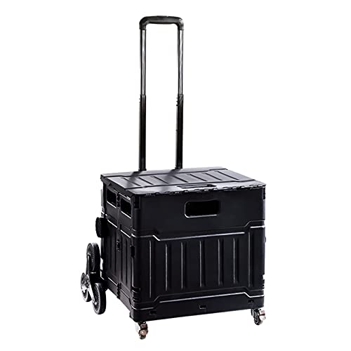 Folding Boot Cart Black Folding Practical Trolley, Crate with Telescopic Handle, Home Office Car Storage Box, 75L (Size : 75L)