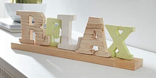 """Schriftzug """"Relax"""", Buchstaben aus Holz, Deko-Aufsteller für Tisch, Schrank, Kommode, Moderne Holzdeko"""