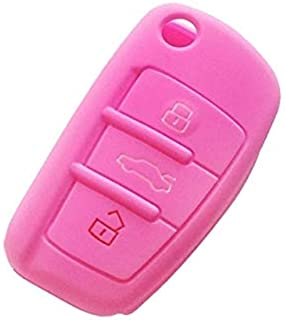2PCS Car Key Cover Silicone Flip Key Remote Holder Case Cover for Audi Q3 A3 A1(Black) High Quality (Color : Pink)
