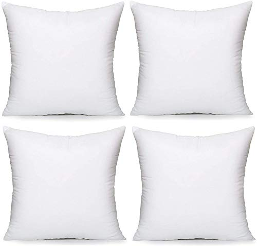 E4Emporium Hollow Fiber Cushion Pads Pillow - Non Allergenic Pillow Pad Stuffer - Hypoallergenic Cushion Pads - Sofa and Bed Pillows - White (4, 18' x 18')