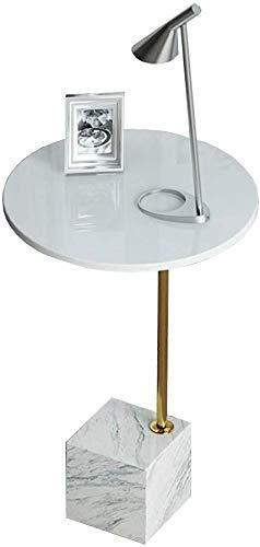 Nest Of Tables Mesa de centro blanca Mesas auxiliares Mesa para portátil Lado redondo de madera Sofá de sala de estar Café Mármol con marco de metal dorado Extremo de hierro forjado Dormitorio Mesita