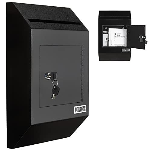 DuraBox Wall Mount Locking Deposit Drop Box Safe (W300) (Black)
