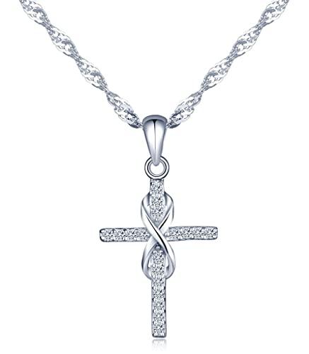 Infinito U Collares Plata 925 para Mujer Colgante Cruz y Infinito con Diamante, Idea Regalo Navidad