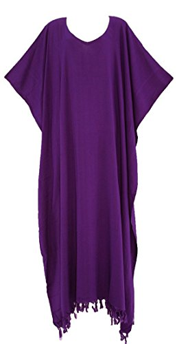 Beautybatik Strandkleid Kaftan Loungewear Maxi Lang Kleid 18 bis 26 Gr. 48, violett