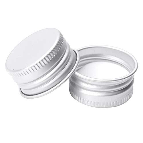 inhzoy 50er Set Schraubverschluss für Flaschen Ersatz Verschluss Deckel Drehverschluss Aluminium Flaschendeckel für Glasflaschen Silber 28mm