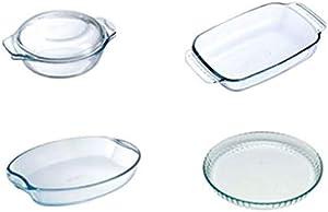 طقم 5 قطع مكون من كاسرولة بغطائها مع 2 محمِصة وطبق حلويات من بايركس 020308262