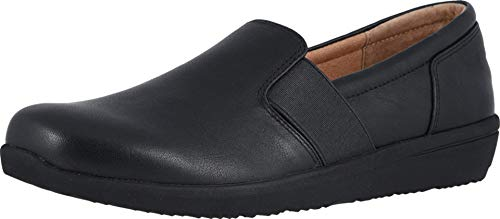 Vionic Women's Magnolia Gianna Leather Slip On Flats - Ladies Walking Shoes with Concealed Orthotic Arch Support Black 8 M US