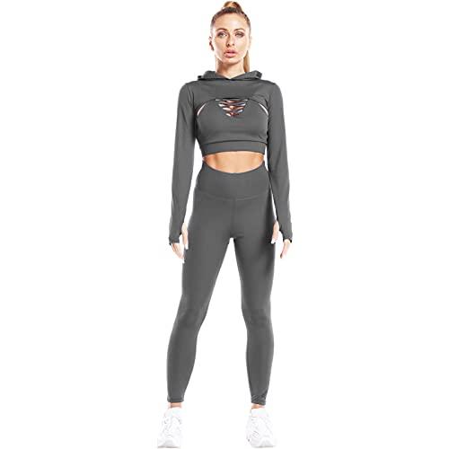Jamron Mujer Conjunto Chándal de Yoga 3 Piezas Sexy Sujetador Camisola Cruzado + Sudadera con Capucha Corta + Legging Ropa Deportiva de Gym Fitness Correr Gris XL