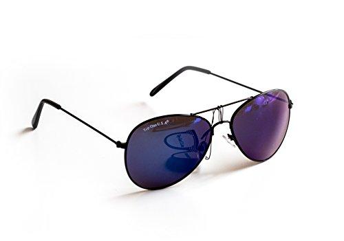 Nick and Ben Piloten-Brille Sonnen-Brille Flieger-Brille Schwarz Blau Getönt UV-Schutz 400 ca. 14 cm Breit Herren Damen Unisex Cosplay Trend-Brille Nerd-Brille Geek-Brille