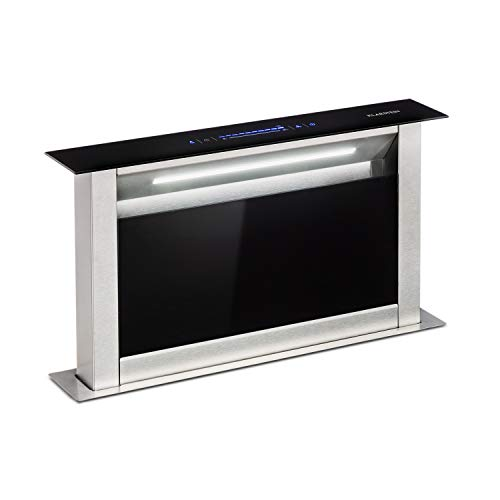 Klarstein Royal Flush Eco Tisch-Dunstabzugshaube - Downdraft, versenkbar, 60 cm, Abluftleistung: 458 m³/h, Abluft/Umluftbetrieb, leise: 60 db, Touch-Bedienung, LED-Kochfeldbeleuchtung, schwarz
