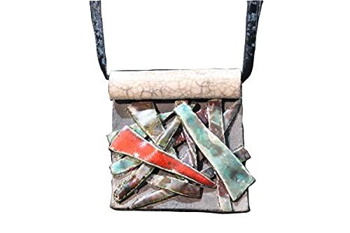 Colgante abstracto de cerámica raku con colgante de color abstracto