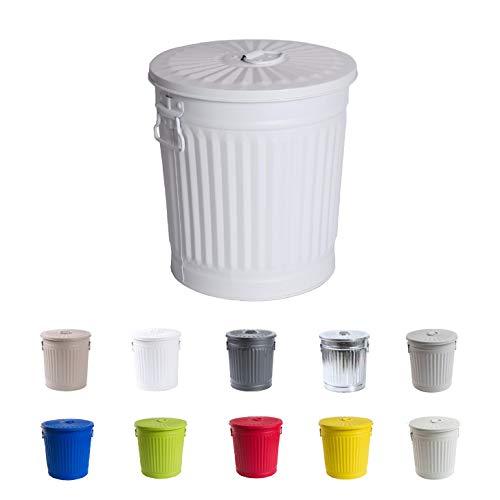 Afvalemmer vuilnisemmer vintage wasbak dekselemmer vuilnisbak met handgrepen mat wit Ø 21,5 cm, hoogte 21,5 cm