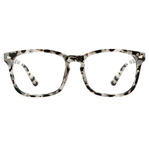 TIJN Blue Light Blocking Glasses Square Nerd Eyeglasses Frame Anti Blue Ray Computer Game Glasses (Marble)