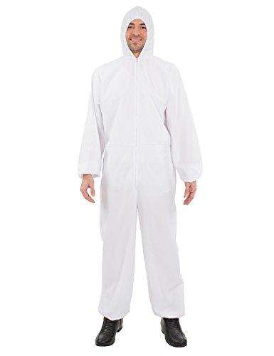 ORION COSTUMES Costume da uomo travestimento tuta da lavoro protettiva bianca, camice, per lavoro con sostanze pericolose