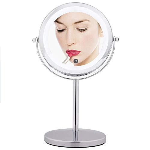 DJYD FDWFN - Espejo de maquillaje, 10 aumentos, iluminación LED, anillo de luz HD antiniebla 360 grados; carga giratoria de la batería para espejo de baño
