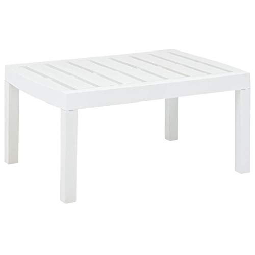 vidaXL - Mesa de jardín resistente a la intemperie, mesa auxiliar, mesa de té, mesa de jardín, mesa de plástico, color blanco, 78 x 55 x 38 cm