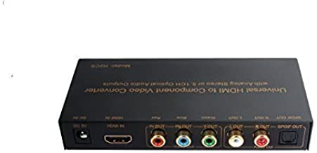 Universal Premium Quality HDMI to Component Video Converter with RCA L/R & Optical Audio Outputs | Support 480i, 720P, 1080i & 1080P Video Output PAL & NTSC | Model: H2CS