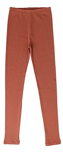 CAOMP Girls'%100 Organic Cotton Leggings for School or Play (7-8, Brown)