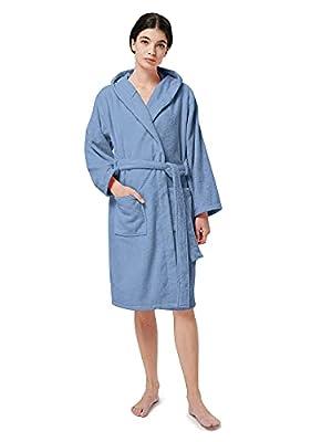 SIORO Women's Hooded Terry Cloth Classic Bathrobe Towel Knee Length Cotton Robe Soft Shower Housecoat
