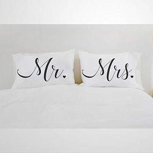 Mr Mrs Pillows, federe per cuscino con scritta 'Mr Mrs' (lingua italiana non garantita) per coppia di sposi e sposi, 30,5 x 50,8 cm
