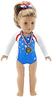 Emily Rose 18 Inch Doll Clothes | Team USA 3 Piece Gymnastics Set, Including Realistic Olympic Gold Medal! | Perfect Halloween Costume! | Fits American Girl Dolls | Gift Boxed!
