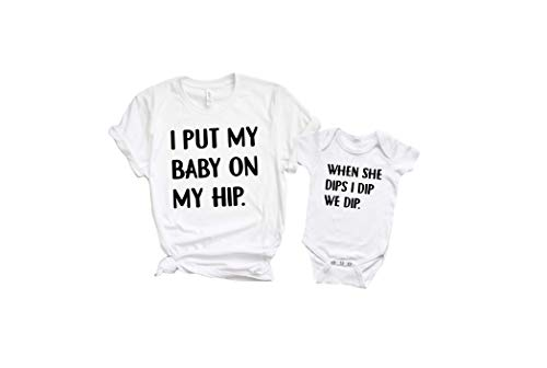 I Put My Baby On My Hip - Mommy and Me Set (Large Mom and Newborn) White