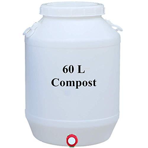 FMXYMC Secchio per Compost con coperchio, cestino per rifiuti da cucina con rubinetto, contenitore per Compost da Interno con manico, con Filtro a rete isolante,Blanco,60L