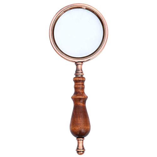 De bronce antiguo de madera del marco de la manija de mano lupa de 10 aumentos de la lente de cristal clásico para personas mayores Mapa de Lectura Libros