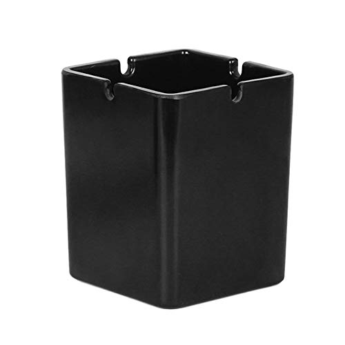 Cenicero de tabaco de plástico portátil fácil de limpiar adecuado para uso en interiores o exteriores (negro)