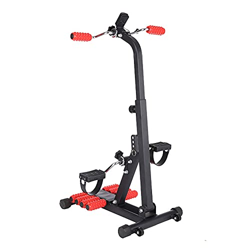 Bicicleta de Rehabilitacion, Entrenador de Pies y Manos ajustable con masaje y mostrador, Bicicleta estática con rueda móvil para ejercicios de recuperación/Black / 85x55x39cm