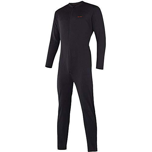 Terramar Men's Military Fleece Stretch Comfort Zip union suit, Black, Small