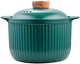 Kitchenware Casserole Earthenware Pot Casserole Cooking Pot Ceramic Casserole With Lid (Capacity : S, Color : Green)