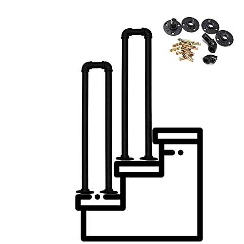 Pasamanos de hierro forjado en forma de U, pasamanos de escalera de tubo galvanizado escalonado, barra de soporte antideslizante de seguridad para ancianos para interiores o exteriores, 70 cm