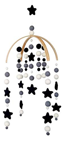 Tik Tak Design Co. Baby Crib Mobile – 100% NZ Wool Colored Felt Ball Mobile for Your Boy or Girl Babies Bed Room – Designer Colors to Match Your Nursery and Delight Your Child (Monochrome)