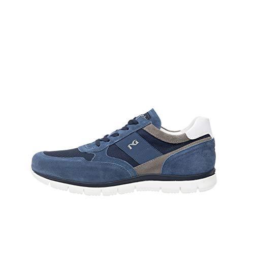 Nero Giardini P900840U Sneakers Uomo in Pelle, Camoscio E Tela - Acqua 42 EU