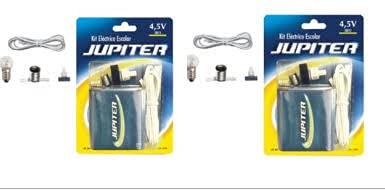 Jupiter (324620 - Kit Eléctrico Escolar, Set DE 2 Unidades, para el Colegio, Pila Petaca 4.5V, Interruptor 220V, Cable y Bombilla.
