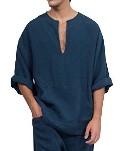 Wenchuang T-Shirt da Uomo a Maniche Lunghe in Corno Largo in Lino Stile Etnico in Lino Marina Militare L