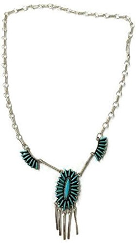 Chaco Canyon Couture Silver .925 Sleeping Beauty Turquoise Zuni Necklace Native American Handcrafted