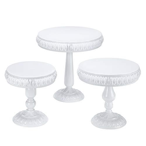 VILAVITA 3-Set Cake Stands Round Cake Stand Set Modern Cupcake Dessert Display Stand, White