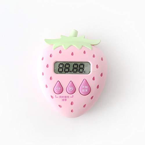 XGQ Forma Creativa de Frutas Tiempo Cocina Gestor Contador de Tiempo mecánico de Aprendizaje Alarma de recordatorio (Fresa) (Color : Color1)