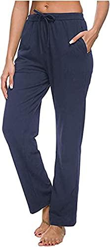 ARTFISH Pantalones de chándal para mujer con cordón y bolsillos, de algodón azul marino L