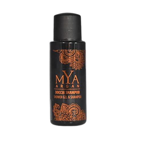 Hotel Cortesia Linea Mya Argan - 60 Flaconi Doccia Shampoo 30ml Con Olio Di Argan - Shower Gel & Shampoo Per B&B, Hotel, Spa, Cortesia Ospiti