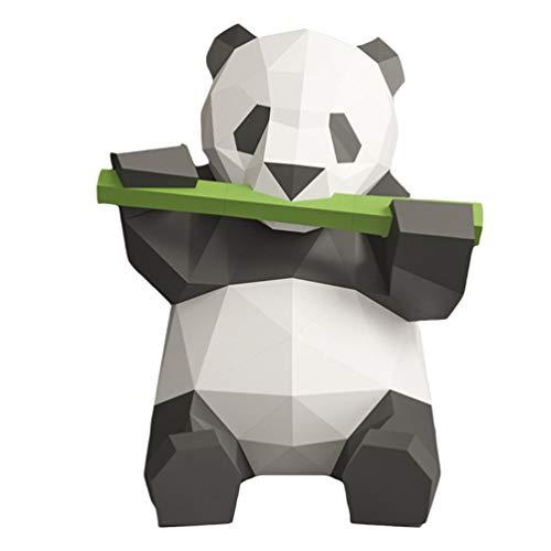 Tomaibaby - Figura decorativa 3D con diseño de panda de bambú geométrico de Origami, color Black+White 27 * 26cm