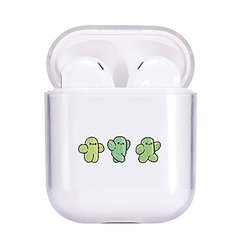 idocolors Cute Cartoon Cases for Airpod Clear Cactus Pattern Soft TPU Cover for Kids & Girls Protective for Apple Airpods 2&1(2019) - Kawaii Plants