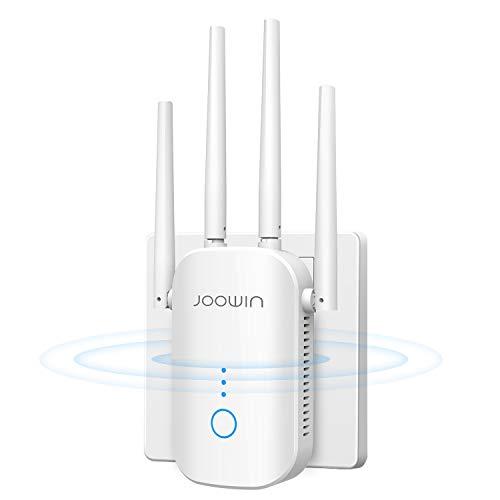 JOOWIN Ripetitore WiFi Wireless, AC1200 Wireless WiFi Extender, velocità Dual Band 2.4GHz/5.8GHz WiFi Extender e Access Point, Porta Ethernet, 4 Antenna, Bianco, EUPlug