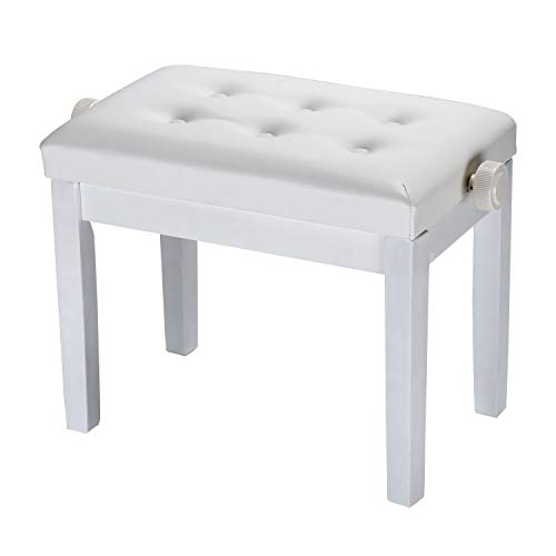 DoubleBlack Banco Piano Regulable Banqueta Teclado Silla Piano Blanco