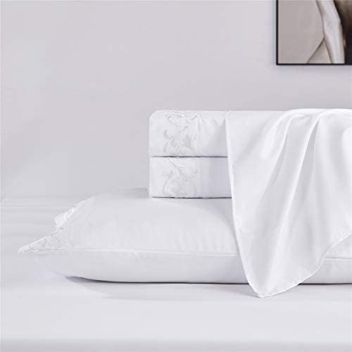HIG 100 Microfiber Embroidered Sheets White Twin XL Sheets Set Super Soft Warm Breathable Cooling product image