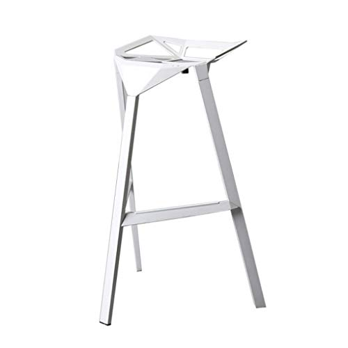 ALH Barhocker Schmiedeeisen Kaffeemaschine Sessel Barhocker Hochhocker Kreative Geometric Aluminium Barhocker American Modern Stuhl for Küche oder Bar (Color : White)