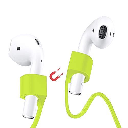 AirpPods Strap, cinghia cavo elastico magnetico anti smarrimento auricolari Compatibili con Apple AirPods cuffie wireless bluetooth comodo fino leggero si chiude come una collana a clip (Green)