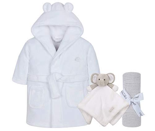 Lora Dora Baby-Bademantel + Decke + Kuscheldecke, Geschenkset für Jungen und Mädchen Gr. 6-12 Monate, Weiß/Grau/Weiß